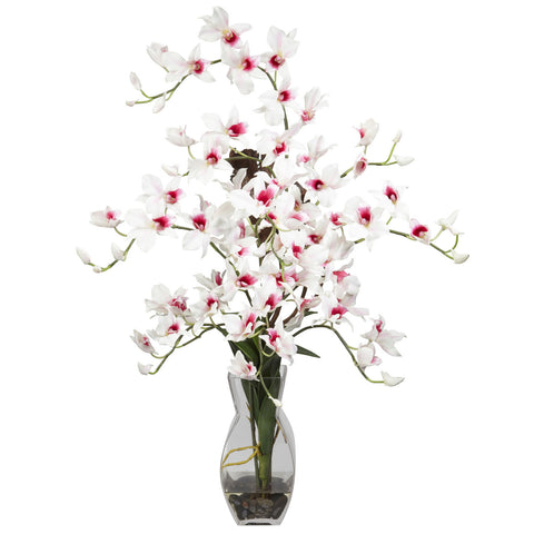 White Dendrobium w/Vase Silk Flower Arrangement