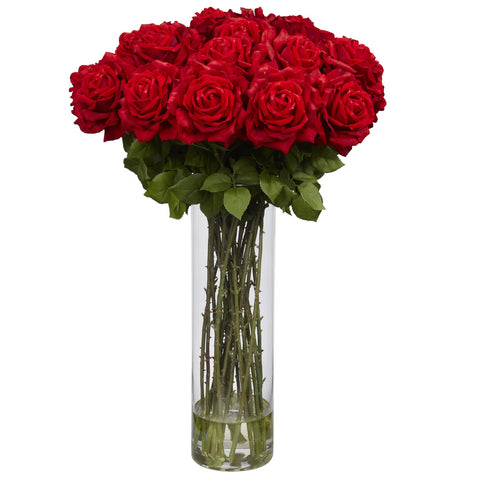 Red Giant Rose Silk Flower Arrangement