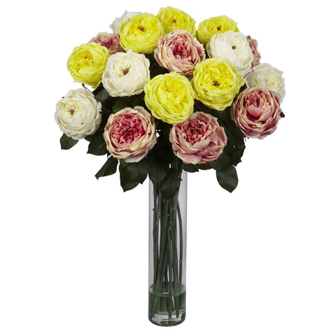 Assorted Pastel Fancy Rose Silk Flower Arrangement