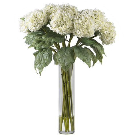 White Hydrangea w/Cylinder Silk Flower Arrangement