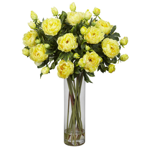 Yellow Giant Peony w/Cylinder Silk Flower Arrangement