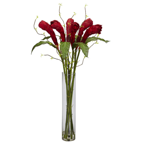 Red Ginger w/Cylinder Vase Silk Flower Arrangement