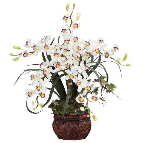 White Cymbidium w/Decorative Vase Silk Arrangement