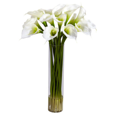 Cream Calla Lilly w/Cylinder Silk Flower Arrangement