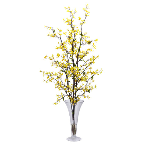 Yellow Forsythia w/Vase Silk Flower Arrangement
