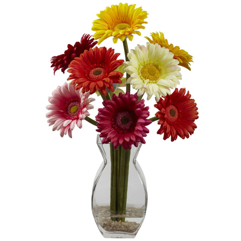 Assorted Color Gerber Daisy w/Vase