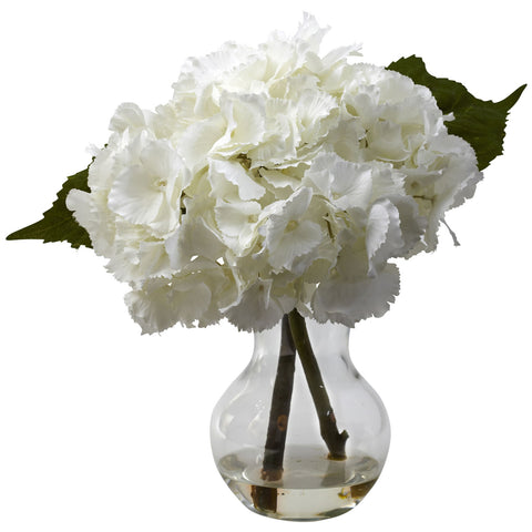 White Blooming Hydrangea w/Vase Arrangement