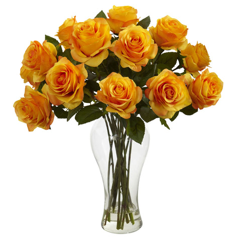 Orange Yellow Blooming Roses w/Vase