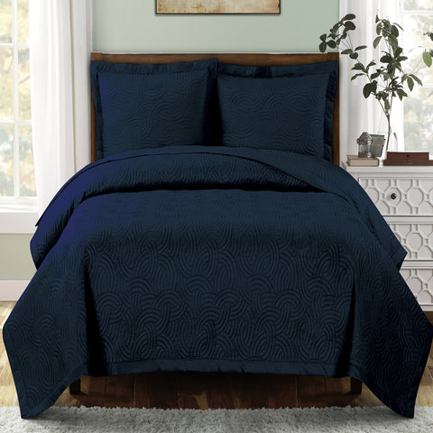 King/Calking NAVY Emerson Oversize Coverlet/Bedspread Set