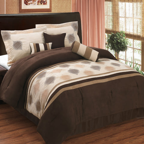 King COFFEE 11PC Grace Micro Suede Bedding Set