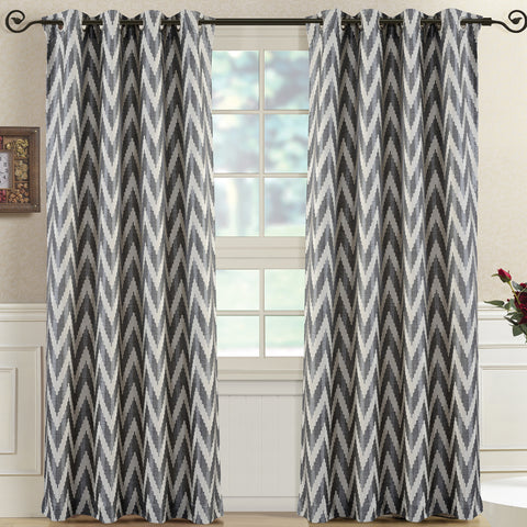 Charcoal 54x108 Pair (Set of 2) Lisette Chevron Top Grommet Window Curtain Panels
