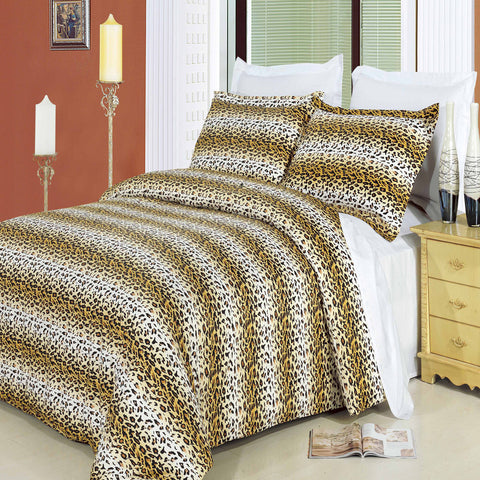 King/Calking Cheetah Combed Cotton 3pc Duvet Cover Set