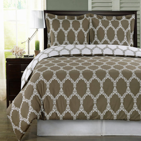 King/Calking TAUPE/WHITE 100% Combed Cotton Duvet Cover Set