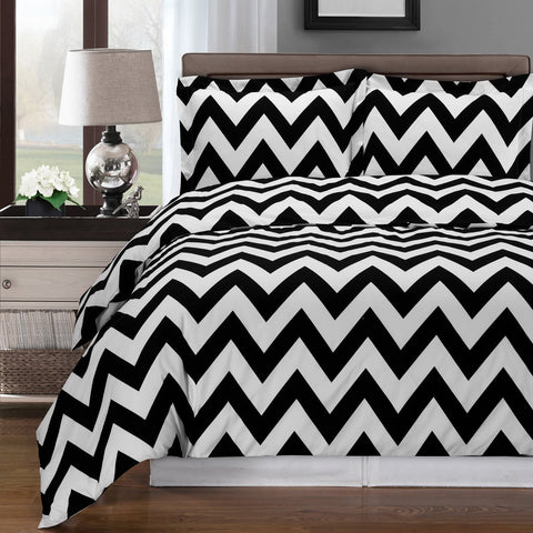 King/Calking Black/White Chevron Duvet Cover set 100% Combed Cotton