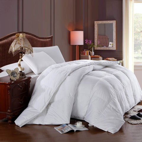 Full/Queen White Duck Down Comforter Solid 300tc shell All Seasons Duvet Insert
