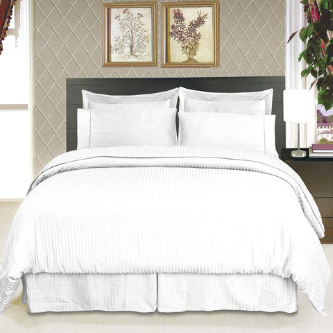 Split King WHITE Sateen Stripe super soft 100% Microfiber Sheet sets