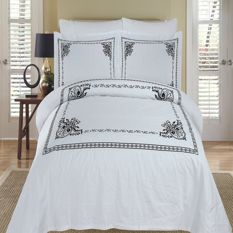 King/Calking Black/White Embroidered 3-Piece Duvet cover Set
