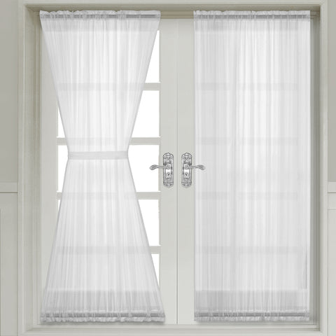 WHITE Abri Crushed Sheer Door Curtain Panel