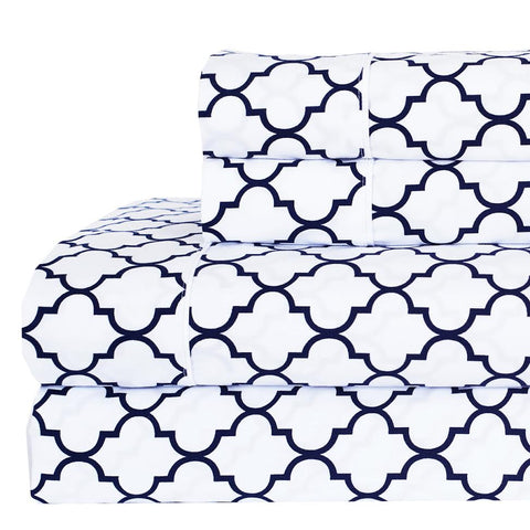 Split king White/Navy Printed Meridian Percale Sheets