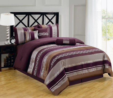 California king PURPLE 11PC Claudia Bedding Set