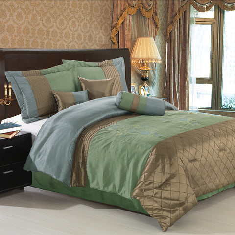 King Coffee/Sage 11PC Pacifica Bedding set
