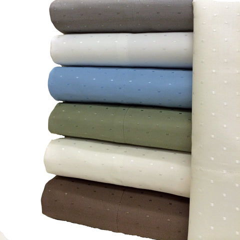 Califronia King TAUPE Woven Dots 600 Thread Count Sheet Sets