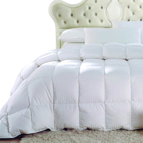 Full/Queen Striped White Duck Down Comforter Oversized All Season Fill Weight 300TC