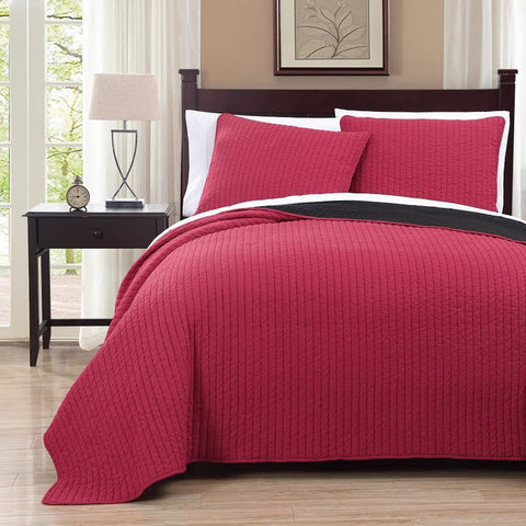 King/Calking Red/Black Oversized Reversible Quilted Coverlet Set