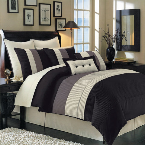 California king BLACK Hudson 8 PC Luxury Comforter Set