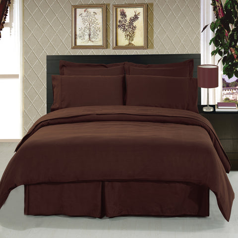 California king CHOCOLATE Solid 8-Piece Bedding Set Super Soft Microfiber Sheets+Duvet+Alternative