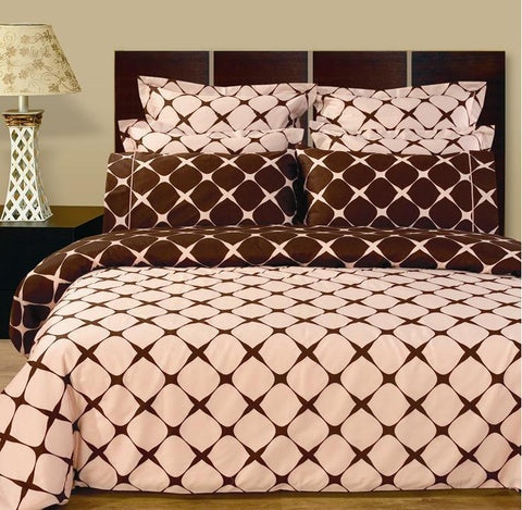 California King Blush & Chocolate Bloomingdale Comforter Set
