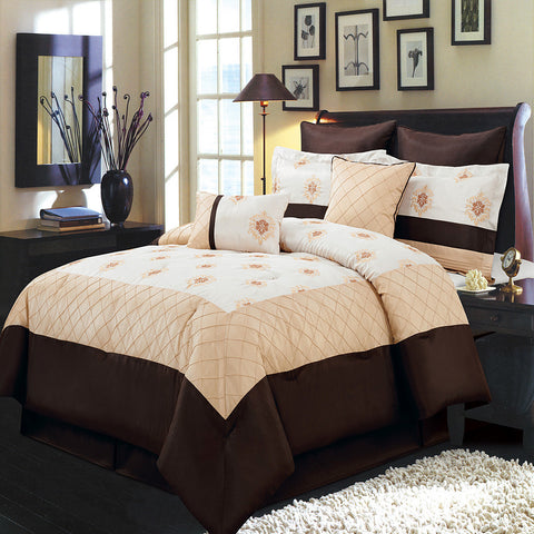 California king 12PC Madison Gold bedding Set