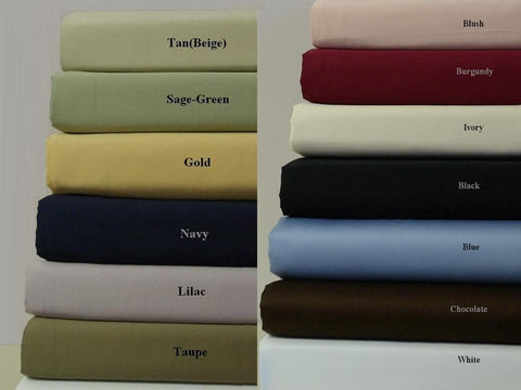 California King BLACK 300 Thread count Unattached Waterbed Solid Sheet Sets 100% Combed cotton