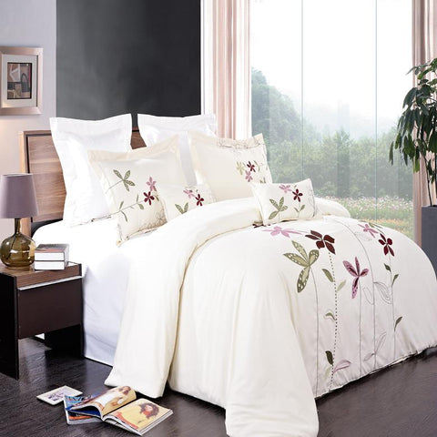 King/Calking Ivory 5 Piece Embroidered Duvet Cover Set