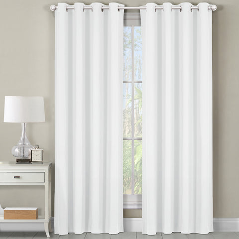 White 54x108 Heavyweight Room-Darkening Grommet Curtains Single Panel