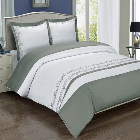 King/Calking Gray/White Amalia Embroidered Comforter Set