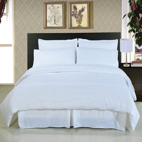 California king WHITE Solid 8-Piece Bedding Set Super Soft Microfiber Sheets+Duvet+Alternative