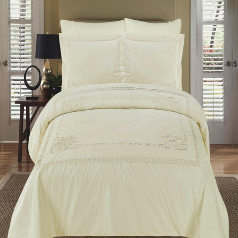 King/Calking Ivory Embroidered 3-Piece Duvet cover Set