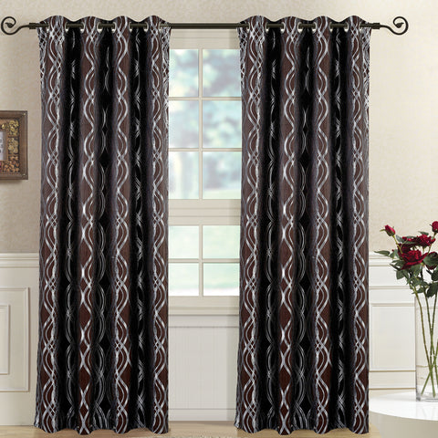 Chocolate 104x108 Regalia Abstract Jacquard Textured Grommet Top Curtain Panels (Set of 2)