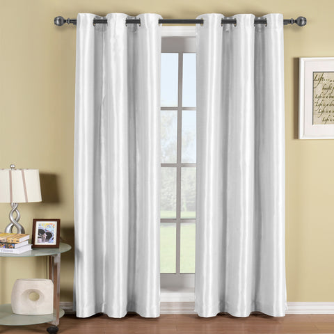 WHITE 42x108 Soho Grommet Thermal coating Blackout Window Curtain Panel