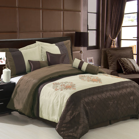 King Coffee/Beige 11PC Pacifica Bedding set