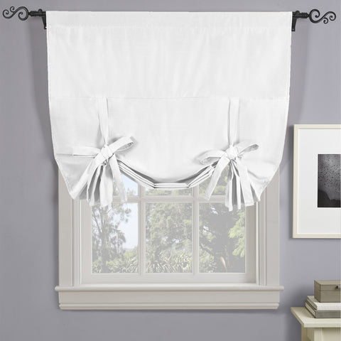 "WHITE Soho Triple-Pass Thermal Insulated Blackout Curtain Rod Pocket - Tie Up Shade for Small Window ( 42"" W X 63"" L)"