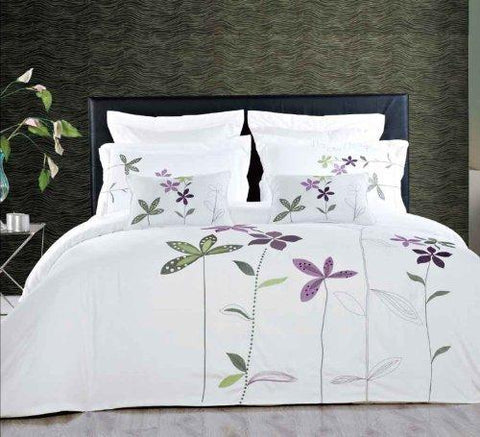 King/Calking White 5 Piece Embroidered Duvet Cover Set