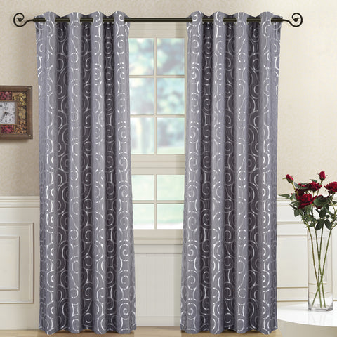 GRAY 104x108 Pair (Set of 2) Top Grommet Window Curtain Panels Abstract Jacquard Tuscany