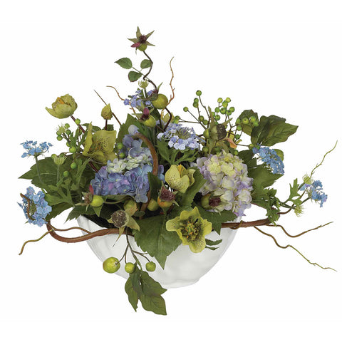 Blue Hydrangea Centerpiece Silk Flower Arrangment
