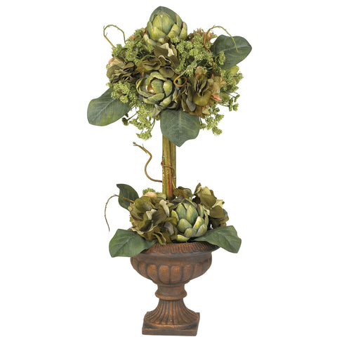 Green Artichoke Topiary Silk Flower Arrangement