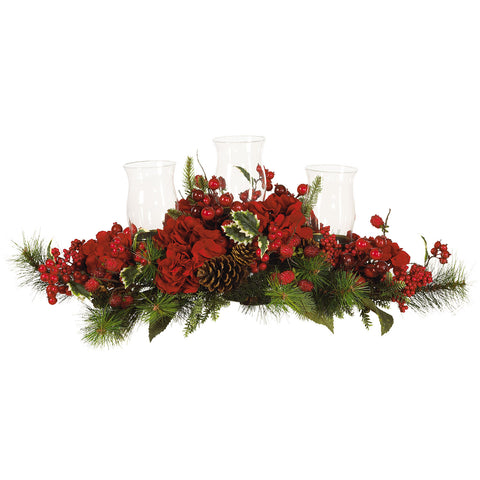 Red Holiday Hydrangea Candelabrum
