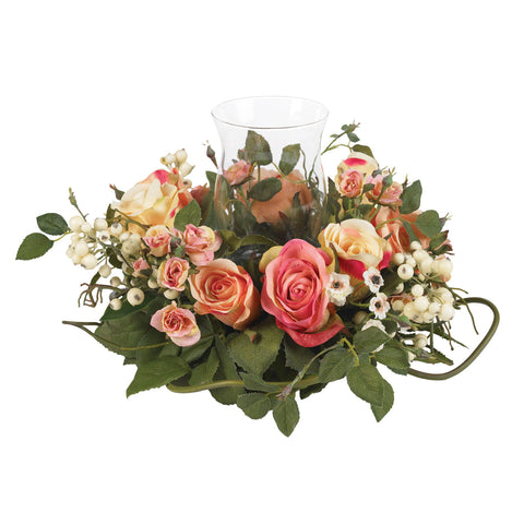 Assorted Pastel Rose Candelabrum Silk Flower Arrangement