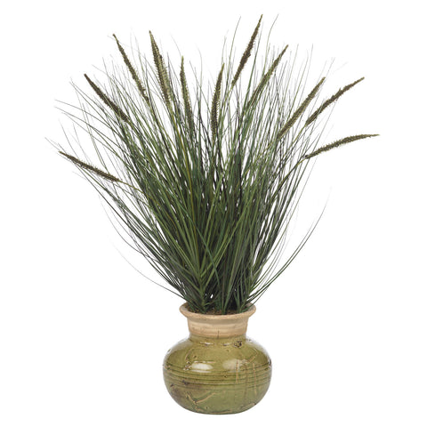 "Green 27"" Grass w/Mini Cattails Silk Plant"