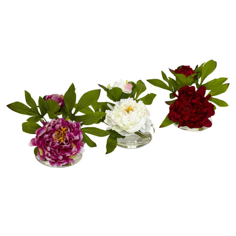 Multi Color Peony w/Glass Vase (Set of 3)